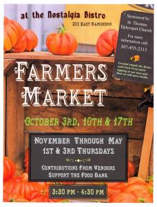 Dubois Farmers Market (Temporarily Postponed) @ Nostalgia Bistro